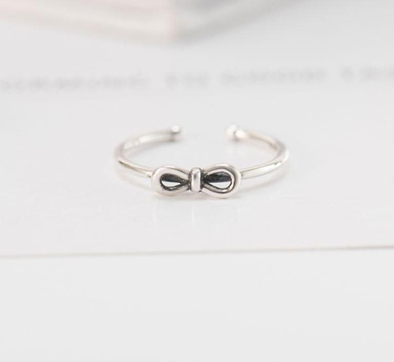 Bow Knot Cute Silver Ring