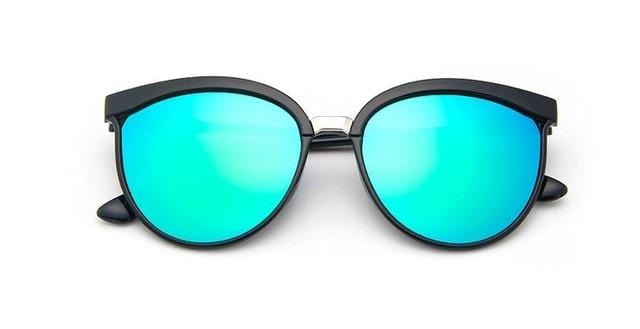 Designer Cateye Mirror Sunglasses Green