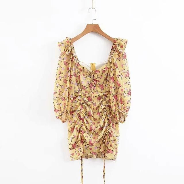 Floral Print Casual Korean Party Dress