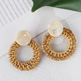 Handmade Geometric Rattan Straw Drop Earring