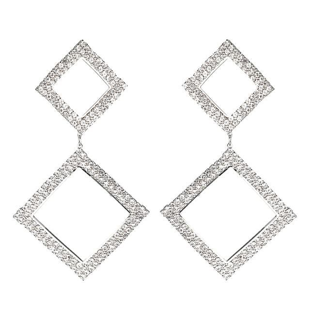 Large Rhinestone Geometric Crystal Earrings