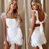 Bohemian Hollow Embroidery Ruffle White Dress