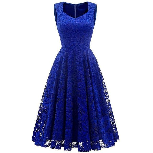 V Neck Lace Work Sexy Party Dress Navy Blue