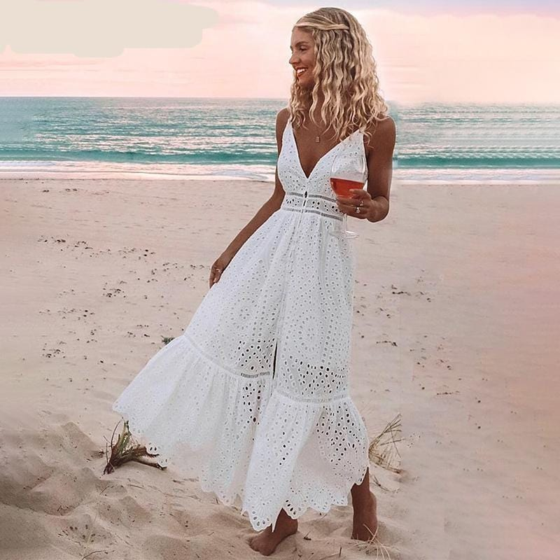 Hollow Out Embroidery Cotton Maxi Dress White