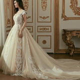 Vintage Long Train Beaded Lace Wedding Dress Lvory