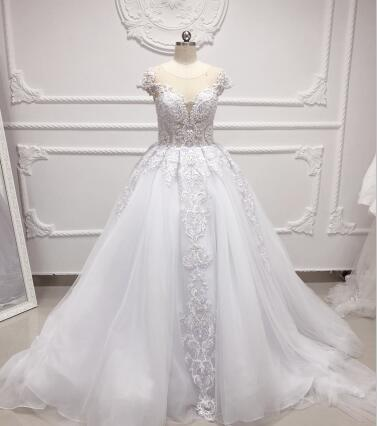 Vintage Long Train Beaded Lace Wedding Dress White