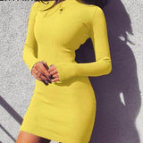 Elegant Long Sleeve Mini Bodycon Dress Yellow