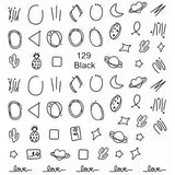 Hollow Geometry Circle Line  Nail Stickers Black