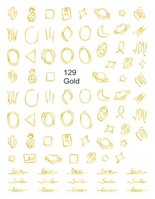 Hollow Geometry Circle Line  Nail Stickers Gold