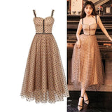 A line Polka Dot Sequined Strap Party Dress