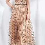 A-Line Polka Dot Sequined Strap Party Dress