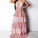 Vintage Deep V Sexy Multilayer Long Maxi Dress