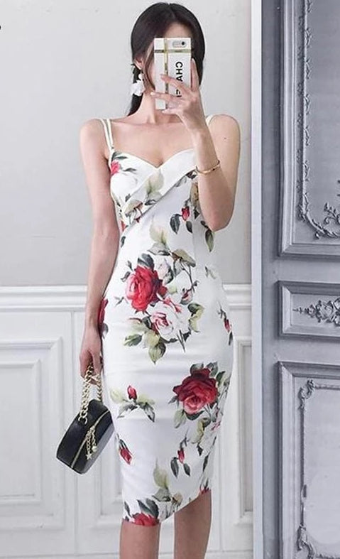 Vintage Rose Print Slim Casual Bodycon Dress White