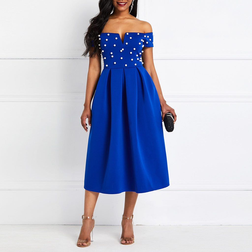 Off Shoulder Beading Sexy Pearl Dress