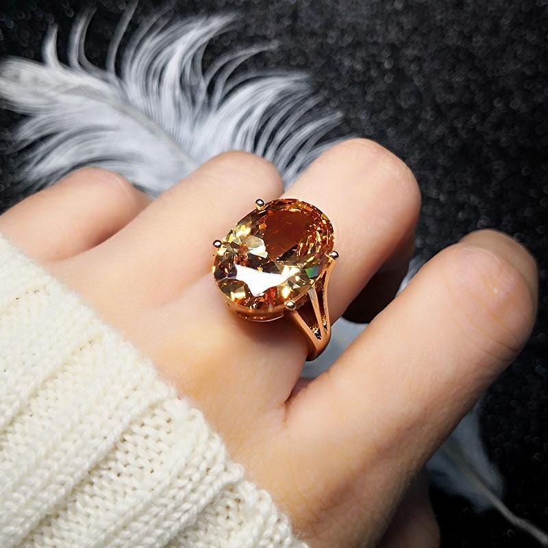 Crystal Cubic Zirconia Rose Gold Color Ring Champagne