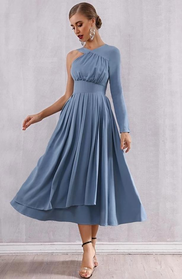 Pleated Hot One Shoulder Club Dress Blue