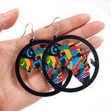 Trendy Wooden Painted Ethnic African Earrings
