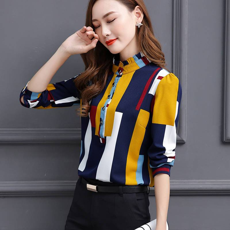Chiffon Blouse Long Sleeve Stand Collar Casual Top