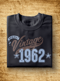 "Unisex Year of Birth, 1962, ""Vintage"" Typographic T-Shirt"