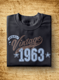 "Unisex Year of Birth, 1963, ""Vintage"" Typographic T-Shirt"