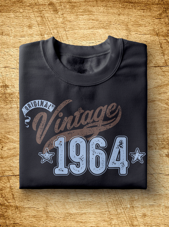 "Unisex Year of Birth, 1964, ""Vintage"" Typographic T-Shirt"