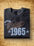 "Unisex Year of Birth, 1965, ""Vintage"" Typographic T-Shirt"