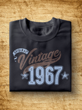 "Unisex Year of Birth, 1967, ""Vintage"" Typographic T-Shirt"
