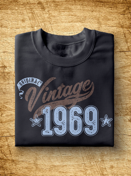 "Unisex Year of Birth, 1969, ""Vintage"" Typographic T-Shirt"
