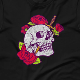 Tattoo Skull and Roses with Dagger Short-Sleeve Unisex T-Shirt