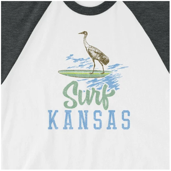 Surf Kansas 3/4 Sleeve Raglan Baseball Shirt