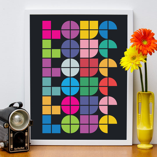 "12"" x 16"" Abstract Love in Black, Poster"