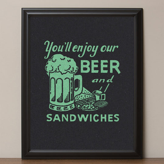 "12"" x 16"" ""Beer & Sandwiches"" Retro Advertising Poster"