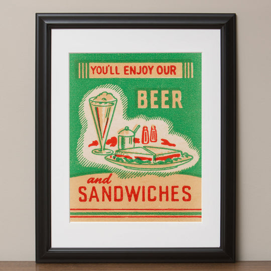 """Beer and Sandwiches"" Diner Retro Poster"