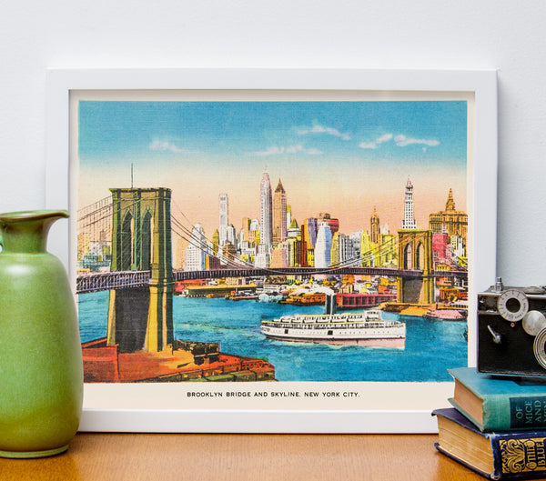 "8"" x 10"" Retro Reproduction Print, Brooklyn Bridge and NY Skyline"