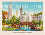 "8"" x 10"" Retro Reproduction Print, New York's Central Park"