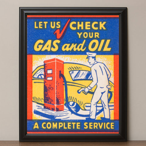 "12"" x 16"" Retro ""Check Your Gas and Oil"" Vintage Look Poster"