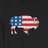 Flag Bison USA Stars & Stripes Unisex Buffalo T-Shirt