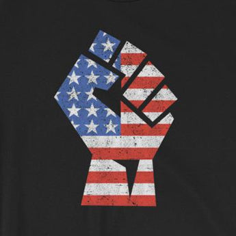 USA Flag in Workers Fist Short-Sleeve Unisex T-Shirt