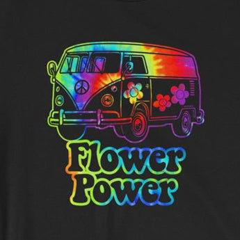Flower Power Tie-Dye Retro Hippie Van Short-Sleeve Unisex T-Shirt
