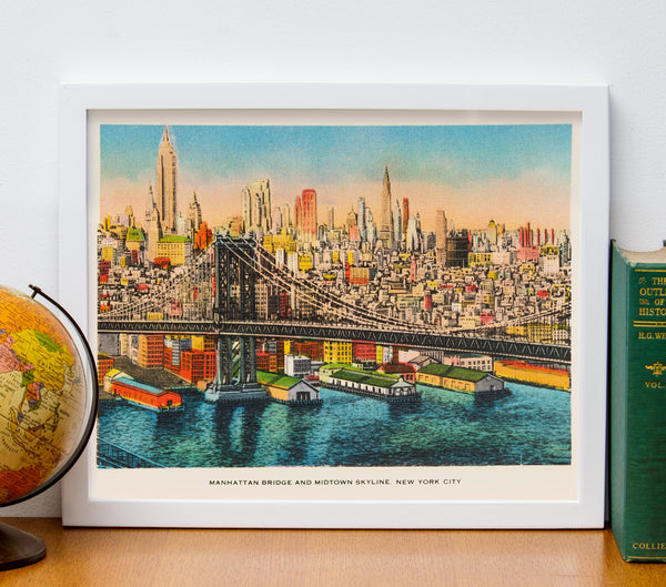 "8"" x 10"" Retro Reproduction Print, Manhattan Bridge and NY Skyline"
