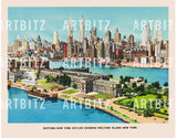 "8"" x 10"" Retro Reproduction Print, Midtown New York Skyline"