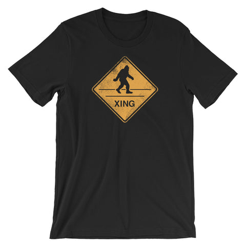 Bigfoot Crossing Street Sign Funny Short-Sleeve Unisex Sasquatch Gift T-Shirt