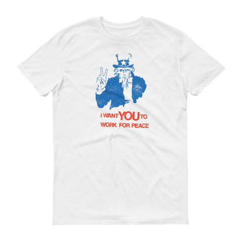 "ArtBitz ""I Want You to Work for Peace"" Uncle Sam Anti-War Tee"