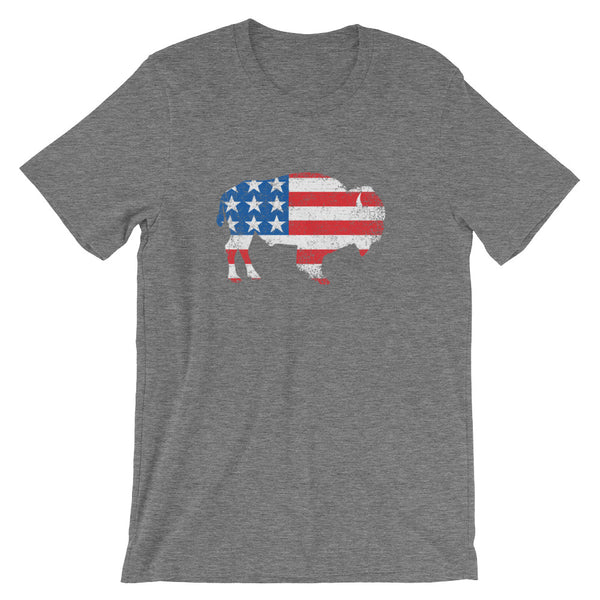 Unisex Flag Bison USA Stars & Stripes Buffalo T-Shirt