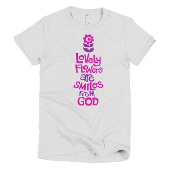 retro inspired, vintage look tee, flowers are smiles from God, spirituality, religion, positive t-shirt