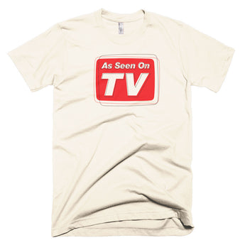 "retro inspired, vintage look tee with ""As Seen on TV"" logo, pop culture, t shirt"