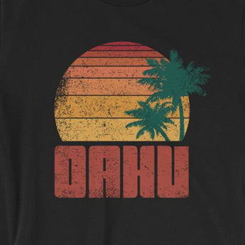 Distressed Vintage-Look Oahu Beach Vacation Short-Sleeve Unisex T-Shirt
