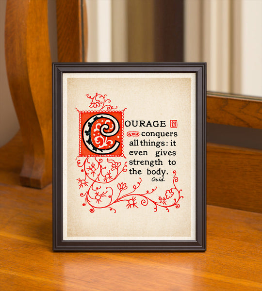 "8"" x 10"" True Courage ""Ovid"" Quote Print"
