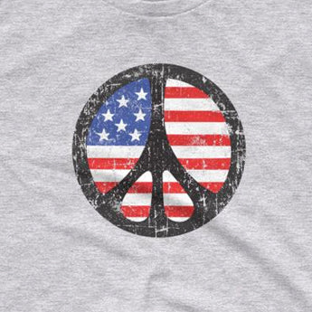 Peace Sign over American Flag Tee