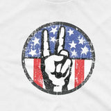 Peace Sign Fingers Over American Flag T-Shirt